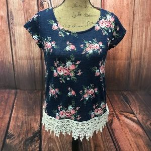 Anthropologie Mauve Navy Flower Top Size Small